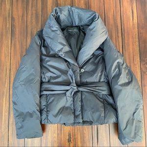BCBGMAXAZRIA black down wrap tie belt puffer coat